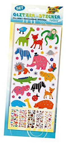 folia 1411 - Glitzer-Sticker Fantasia, ca.10 x 23 cm, 5 Blatt, Motive sortiert - ideal geeignet zum Verzieren von Grußkarten, Bastelarbeiten und Scrapbooking