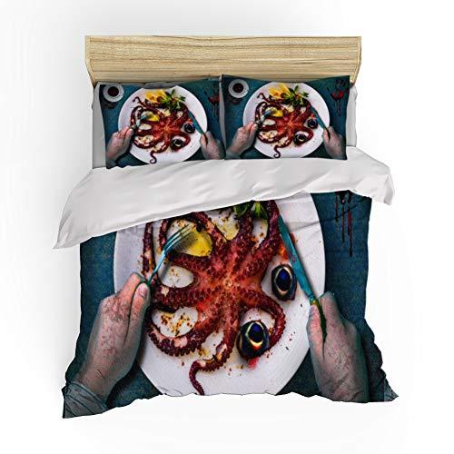 Gepersonaliseerde Dekbedovertrek Bedding Set, Horror Octopus Pattern dekbedovertrek, kussensloop, Family eenpersoonsbed tweepersoonsbed, comfortabele zachte microvezel,01,GB Single140cm×210cm