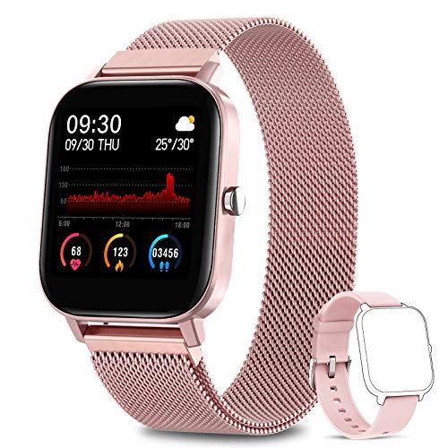 AIMIUVEI Smartwatch Damen, 1.4 Zoll Touch-Farbdisplay Fitness Tracker Wasserdicht IP67 Fitnessuhr Pulsuhren Sportuhr Schrittzähler Uhr Schlafmonitor für Android iOS Handy Smart Watch Aktivitätstracker