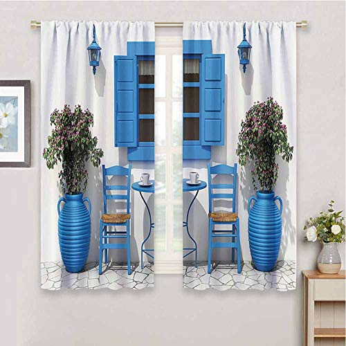 Travel Decor Farmhouse Curtain, Curtains 45 inch Length Traditional Greek Design Holiday Summer House Flowers Window Image Daily use Navy Blue and White W63 x L45 Inch