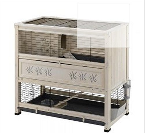 Elegante interior Hutch de madera con dos niveles–adecuado para conejo Razas Pequeñas y guineapigs, con un diseño elegante y funcional