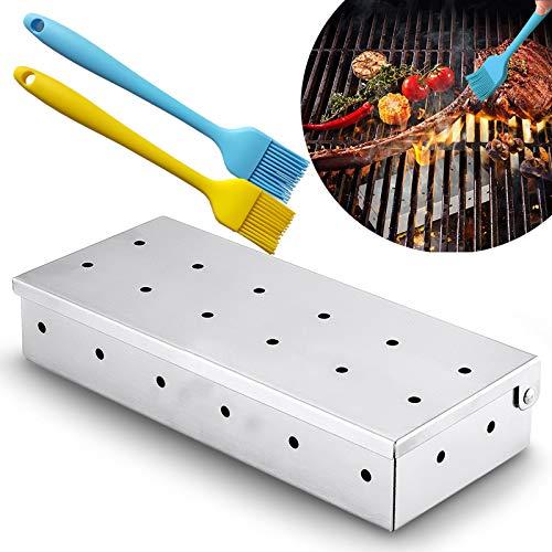 Caja para ahumar barbacoa para astillas de madera, caja de ahumador de acero inoxidable para estufa de carbón o gas, herramientas de barbacoa para patio de jardín con 2 cepillos de aceite de silicona.