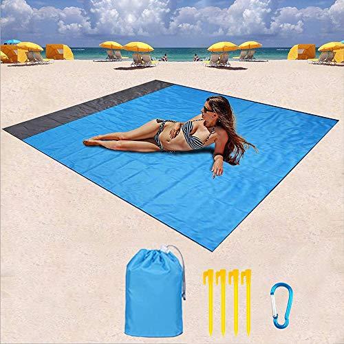 Manta de Playa 210x200cm Estera de Playa sin Arena de Gran tamaño Manta de Picnic al Aire Libre Manta de Bolsillo portátil Plegable Impermeable A Prueba de Arena para Acampar Senderismo