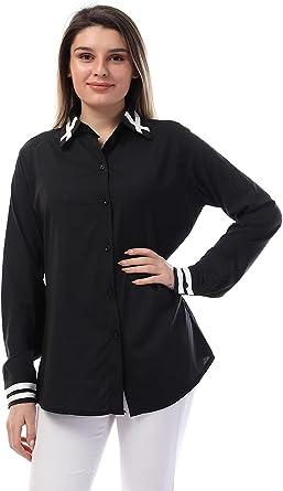 قميص حريمي قطن بازرار امامية وحواف دائرية من اندورا