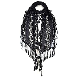 S3129 Black Leafy Lace Scarf With Tassels