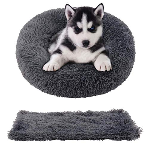 Cozywind Cama Gato Suave Cama Perro Redonda+manta para mascotas,Mascotas Calentito Cojín Lavable Invierno de Felpa,Diámetro 50cm,Gris oscuro