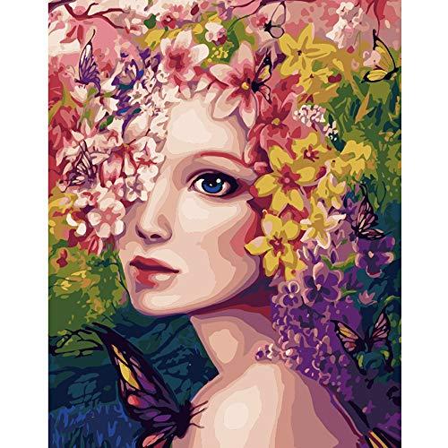 LvJin DIY Digital Painting Flower Fairy Beauty, Lienzo de Color sin Marco, 16 * 20 in, Pintura de Suministros de Arte, Pinturas y Conjunto de Lienzo