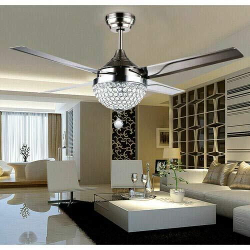 Ventilador de techo LED de 44 pulgadas con luz regulable, moderno ventilador de cristal, lámpara de techo con mando a distancia para salón, comedor, vestíbulo.