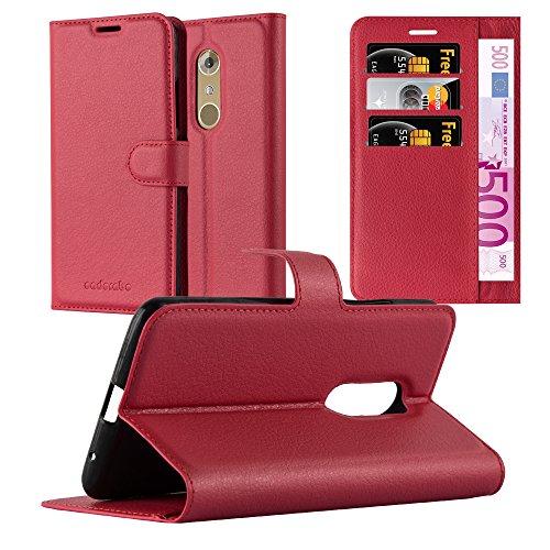 Cadorabo Hülle für ZTE Axon 7 in Karmin ROT - Handyhülle mit Magnetverschluss, Standfunktion & Kartenfach - Hülle Cover Schutzhülle Etui Tasche Book Klapp Style