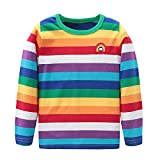 HowJoJo Baby Boys Girls Cotton Long Sleeve T-Shirts Kids Rainbow Striped Shirts 2T