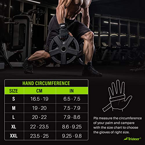 Trideer Padded Anti-Slip Weight Lifting Gloves with 18 Wrist Wraps, Pro Gym Gloves Support for Weightlifting, Cross Training, Gym Workout (Black, XL (Fits 8.6-9.25 Inches))