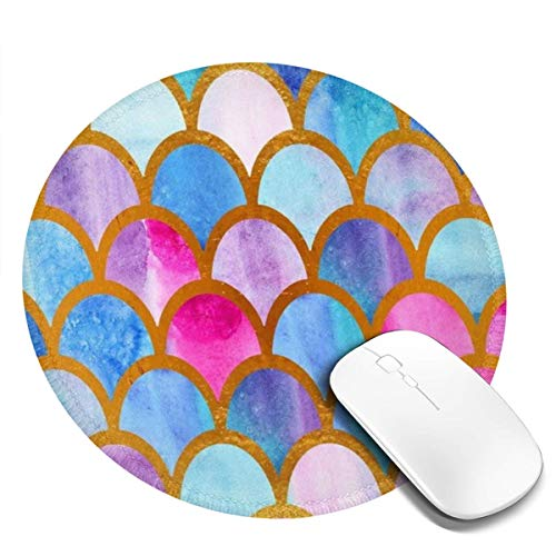 Mouse Pad with Stitched Edge, Round Mousepad Non-Slip Rubber Base Gaming Mousepads for Laptop and Computer 7.9 x 7.9 x 0.1 Inch, Watercolor Mermaid Fish Scales