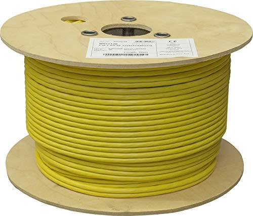 BIGtec CAT 7 Netzwerkkabel Verlegekabel LAN Kabel 100m Duplex CAT7 PiMF halogenfrei BauPVO Eca POE gelb Netzwerk Installationskabel Datenkabel CAT.7 Cable