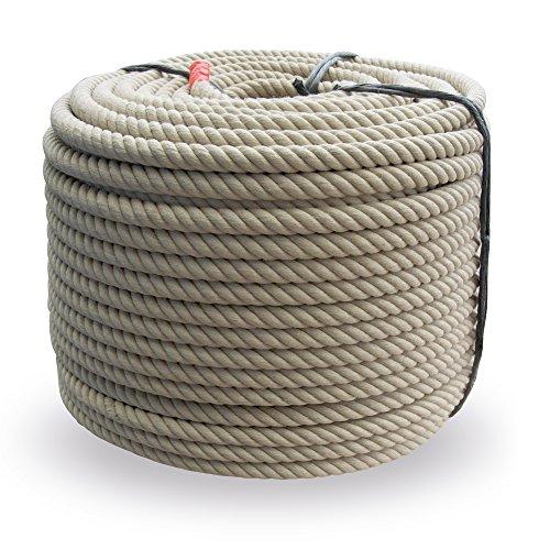 Grevinga® Polypropylen Spinnfaserseil - Kunststoffseil - Seil - Hanfseil Optik Ø 20 mm (50 m)