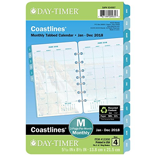 """Day-Timer Refill 2018, Two Page Per Month, January 2018 - December 2018, 5-1/2"""" x 8-1/2"""", Loose Leaf, Desk Size, Coastlines (13300-1801)"""