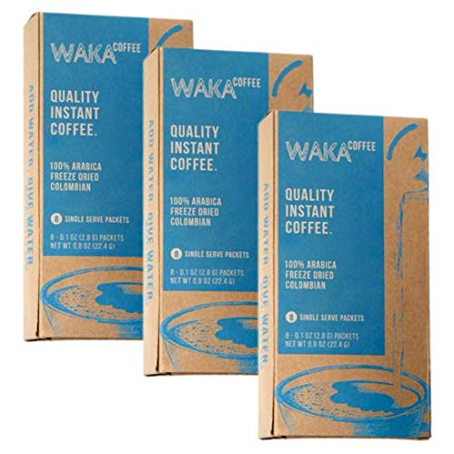 Waka Coffee Quality Instant Coffee, Colombian, Medium Roast | 100% Arabica, Freeze Dried, 3 Box Value Package | We Bring The Instant Back