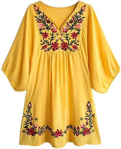 Wangwang454 Blusa de Mujer Boho Hippie Flores Bordadas Vestido de Blusa Mexicana Vestido de Verano Blusa de túnica de Bordado Bohemio-SG_02 Amarillo-A1