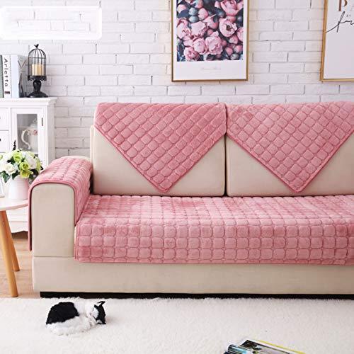 SKRCOOL Funda De Sofá Elásticoidad Tela Cubierta De Sofá Super Thick Caliente Cubre Sofá Elástico Silla Loveseat Couch Settee Protector De Muebles para Perros para Mascotas-Rosa 70x70cm