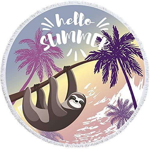 Donglinshangcheng Popular Toalla de Playa de Summer Sloth con Toallas de Playa de Microfibra Grande Divertidas de Borla para Adultos Toalla de baño de Viaje para Toalla de Viaje Beach Travel Yoga