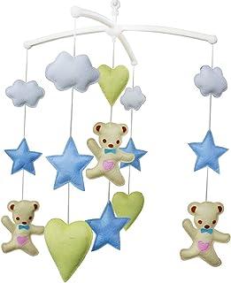 Ours et étoile Jouet de décoration de lit bébé Mobile musical musical pour berceau fait main en tissu non tissé