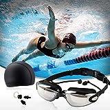 EGM Men and Women Swimming Goggles Set HD Waterproof Swimming Goggles Swimming Cap Nose Clip Earplugs Plating Pink