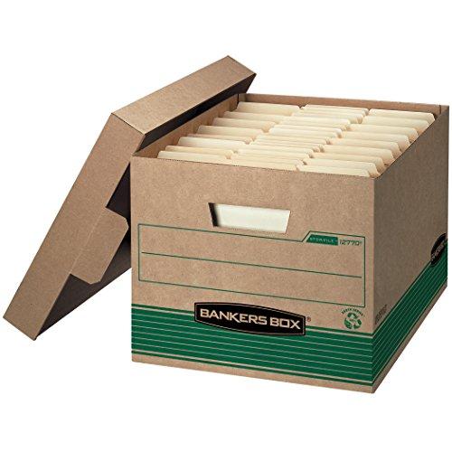 Stor/File Extra Strength Storage Box, Letter/Legal, Kraft/Green, 12/Carton