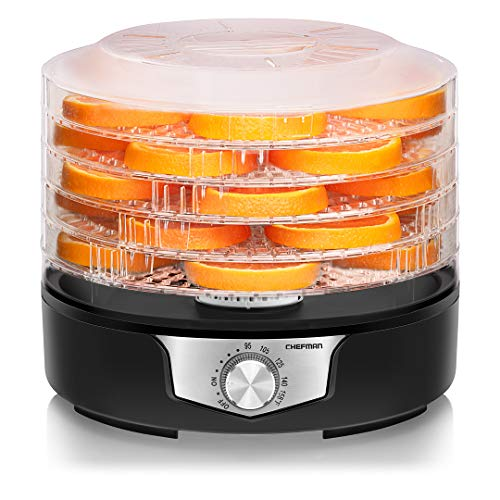 Chefman 5 Food Dehydrator 114Inch Transparent Trays Adjustable Temperature Control Create Dried Snacks For The Family Prepare Fruits Jerky Vegetables Meats amp Herbs