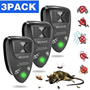 WILDJUE Ultrasonic Pest Repeller[3-Pack] Pest Control Spider repellent, Electronic Plug In Pest Repeller-Repels Roaches,Spiders,Other Insects,Humans&Pets Safe