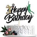Anxdh volleyball happy birthday cake topper men's volleyball cake decoration adult children beach volleyball game theme birthday party decoration