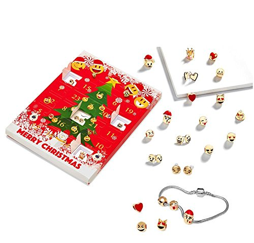 Yokeyoke Emoji-Schmuck, Adventskalender, 15 Charm-Emoji-Armbänder + 8 x atemberaubende Ohrringe, Geschenk, Weihnachten, 18 Karat vergoldet, 3D-Emoji-Charms, lustig, zum Zusammenbauen