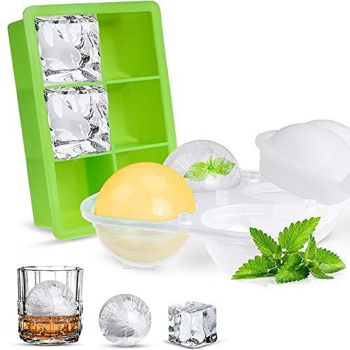 Opret Cubiteras para Hielo Silicona, 2 pcs Cubitos de Hielo con Tapa Moldes y Bandejas para Hielo, para Bebidas, Whisky, Cóctel y Comida para Bebés, Certificado LFGB y Sin BPA