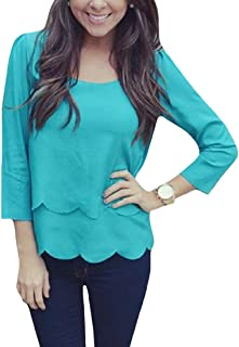 MogogoWomen Scallop Hem 3/4 Sleeve Style Pure Color Scoop Blouse Tops
