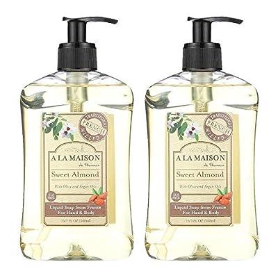 A La Maison de Provence Sweet Almond Liquid Hand and Body Soap (Pack of 2) With Coconut Oil, Argan Oil and Vitamin E, 16.9 fl oz Each
