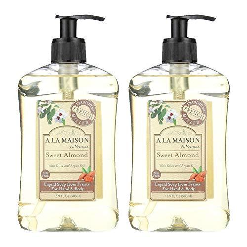 A La Maison de Provence Sweet Almond Liquid Hand and Body Soap (Pack of 2) With Coconut Oil, Argan Oil and Vitamin E, 16.9 fl oz Each (SG_B072Q3JQ8N_US)