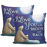 Love You To The Moon and Back Fundas De Almohada Novedad Funda De Almohada para Cojín Poliéster Almohada Cubierta para Sofá Cámping Coche Juego De 2, 45x45 cm