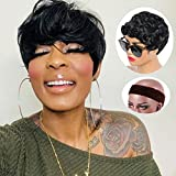 Short Pixie Cut Wigs for Black Women Synthetic Black Wig Short Women Pixie Cut Wig Fashion Natural Womens Wigs Short Hair Replacement Wigs Daily Heat Resistant Fiber 1B Color Hair by UPerfe