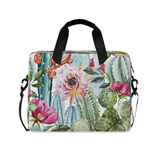 ALARGE Laptop Case Sleeve Colorful Floral Flower Cactus 15-16 inch Briefcase Travel Tote Messenger Notebook Computer Crossbody Bag with Strap Handle for Women Men