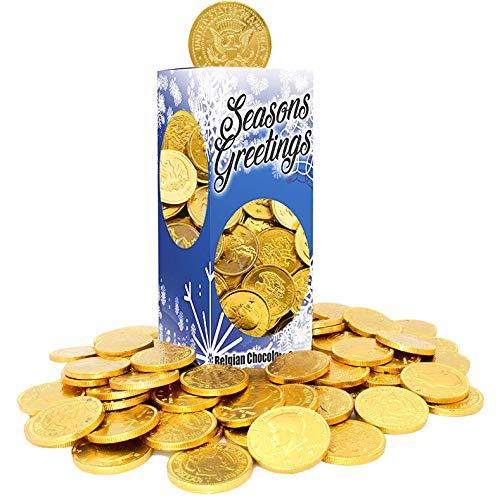 Seasons Greetings Milk Chocolate Gold Coins, Stocking Stuffers, Belgian Milk Chocolate Coins, 1LB, Kosher Certified Gelt (Single)