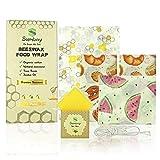 Sumbay Emballage Alimentaire Reutilisable en Cire d'abeille | Bees Wrap | Film Alimentaire Ecologique Lavable pour Conserver Vos Aliments | Lot de 4 : 1 Petit, 2 Moyens, 1 Grand et Cire d'Entretien