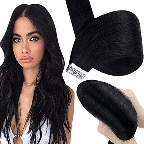 Hetto Bresilien Lisse Adhesive 20 Pouces Adhesive 100 Cheveux Humain Remy 40 Pièces 100Gram Tape in Extensions de Cheveux 1 Jet Black Cheveux Natural