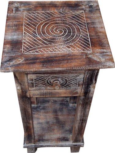 Guru-Shop Table de Téléphone, Table D`entrée - Spirale, Marron, 80x37x37 cm, Tables Basses Tables de sol