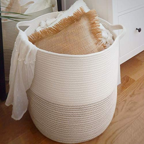 Extra Large Woven Storage Baskets  18 x 16 Decorative Blanket Basket Use For Sofa Throws Pillows Towels Toys or Nursery  Cotton Rope Organizer  Coiled Round White Laundry Hamper with Handles