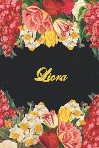 Liora: Lined Notebook / Journal with Personalized Name, & Monogram initial L on the Back Cover, Floral cover, Monogrammed Journals for Girls & Women