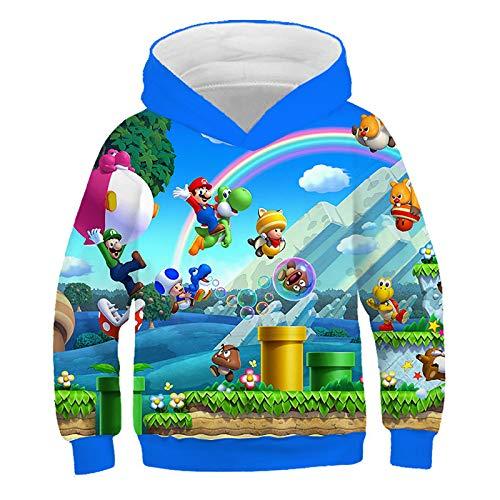 Super Mario Kapuzenpullover Jungen Mädchen Teenagers 3D Pullover Hoodie 3-14 Jahre Geschenke Cartoon Cosplay Sweatshirt (Schornstein,130cm)