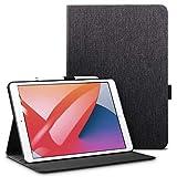 ESR iPad 8 ケース 2020 iPad 10.2 ケース 2019 オックスフォード生地 手帳型 オートスリープ ウェイク ペンシルホルダー付き ブックカバーデザイン 角度調節可能な鑑賞スタンド アーバンプレミアム 二つ折りスタンド iPad 10.2インチ用カバー ブラック