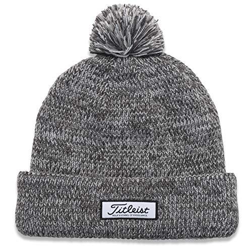 Titleist Men's Standard Pom Winter Golf Hat, heathered Grey, One Size Fits All