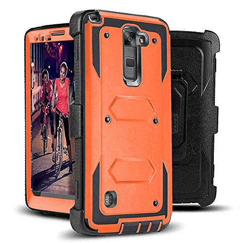 J.west LG G Stylo 2 (2016 Release) - Heavy Duty Full-Body Rugged Holster Armor Case & Belt Swivel Clip [ Kickstand ] Without Built-in Screen Protector - Orange