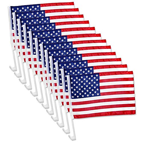 Julysgift US American Patriotic Car Window Clip USA Flag 17' x 12' (12 Counts)