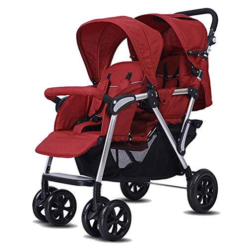 Baby trolley Poussette Double légère, Poussette jumelle avec Paysage Haut - système de sécurité à 5 Points, Store à 3 Couches pour Une Protection Anti-UV, repliage Facile, Panier de Rangement