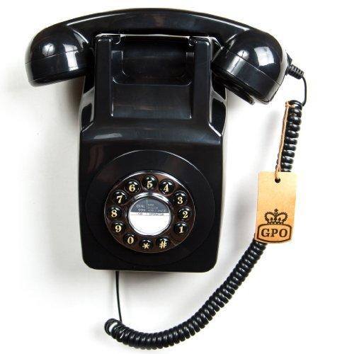 GPO 746WALL Retro Festznetztelefon mit Drucktasten zur Wandmontage mit authentischer Klingelton, Schwarz